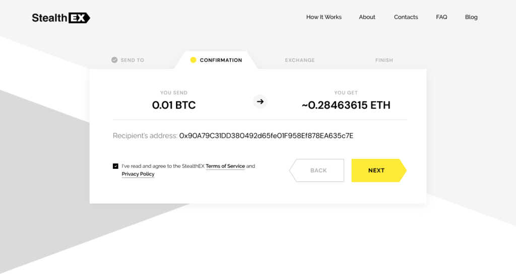 How To Exchange Cryptocurrency On StealthEX Confirmation_Exchange
