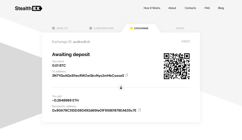 How To Exchange Cryptocurrency On StealthEX Exchange_Awaiting
