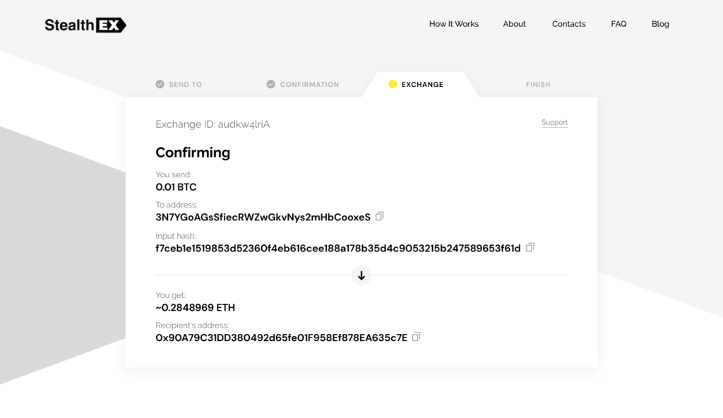 How To Exchange Cryptocurrency On StealthEX Exchange_Confirming