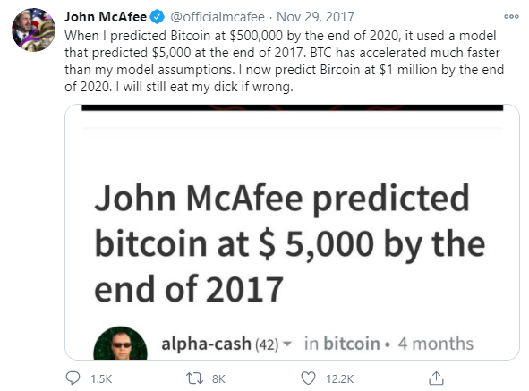 BTC price prediction 2021 McAfee