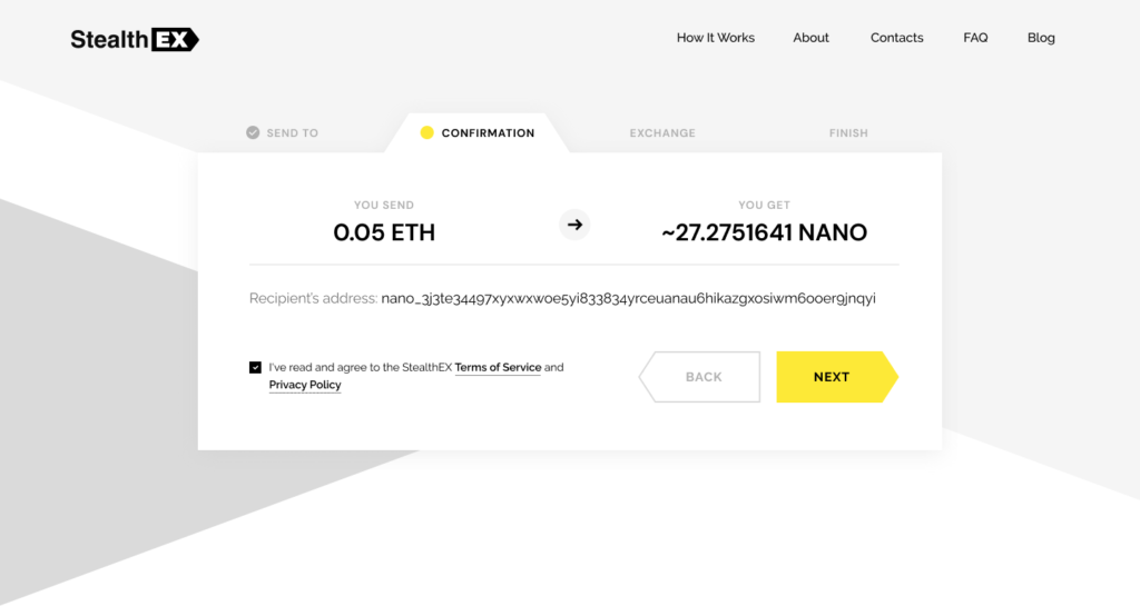 How To Buy Nano Cryptocurrency On StealthEX. Tutorial article. Confirmation Exchange