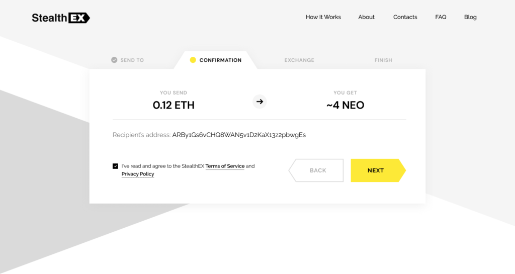 How to buy Neo coin on StealthEX. Tutorial article. Confirmation Exchange