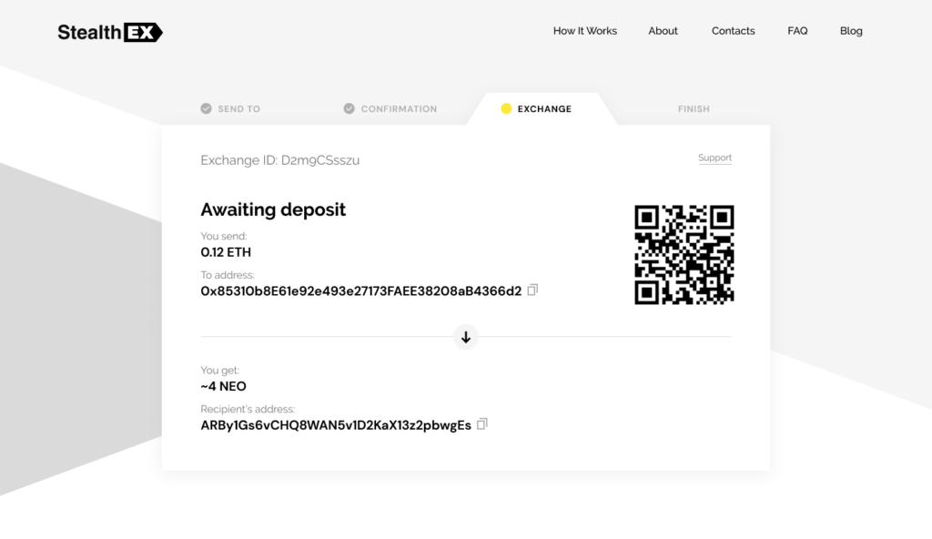 How to buy Neo coin on StealthEX. Tutorial article. Exchange Awaiting