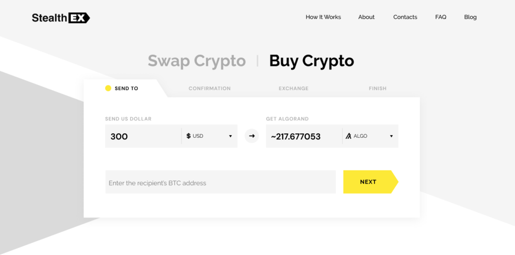 How to Buy Algorand With A Credit Card. Article by StealthEX